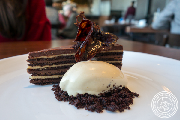 Chocolate gateau at Manhatta in NYC, NY