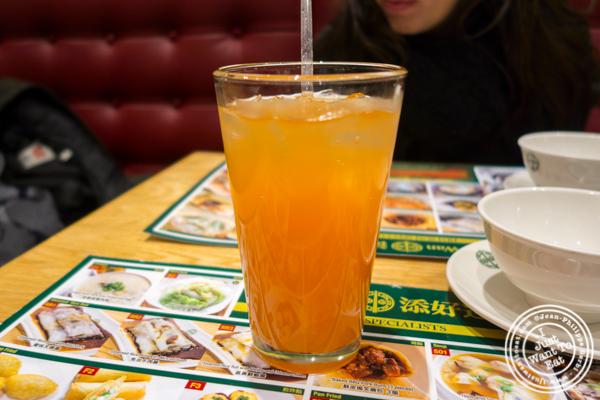 Blood orange ginger ale at Tim Ho Wan in Hell's Kitchen