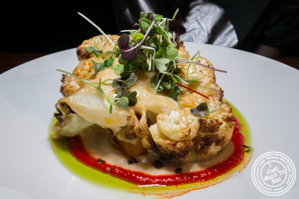 Cauliflower steak at L'Adresse near Bryant Park