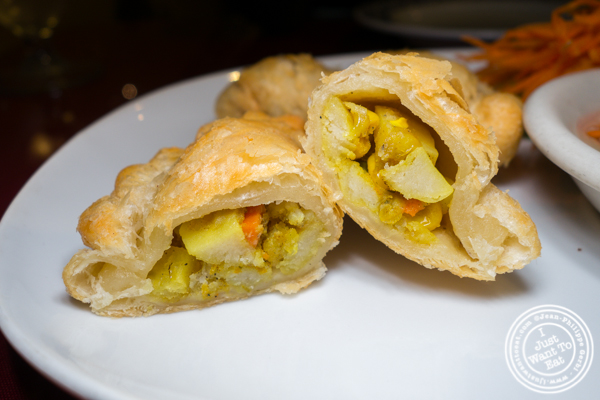 Vegetarian curry puffs at Bangkok Garden in Hackensack, NJ
