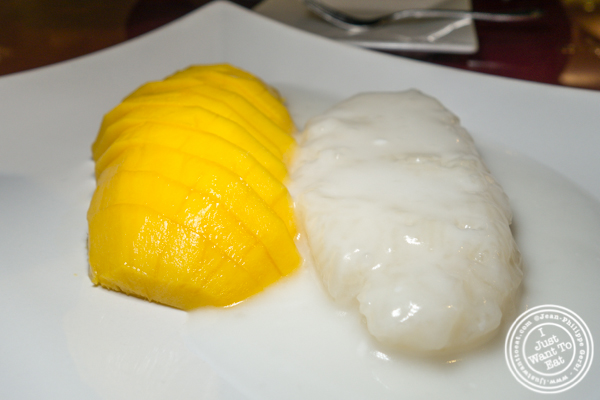 Mango over sweet rice at Bangkok Garden in Hackensack, NJ