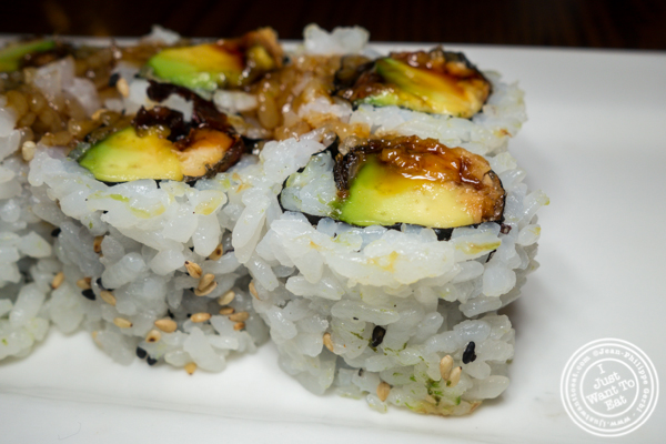 Eel and avocado roll at Natsumi in Times Square