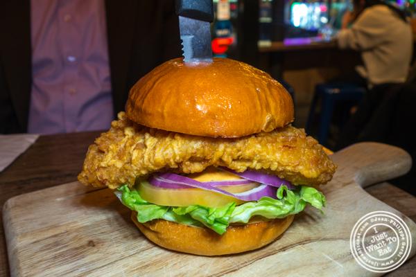 Crispy chicken burger at Korean Crispy Chicken in Hell's Kitchen