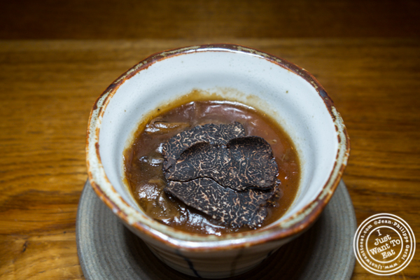 Winter truffle and mushroom chawanmushi at Mifune in NYC, NY