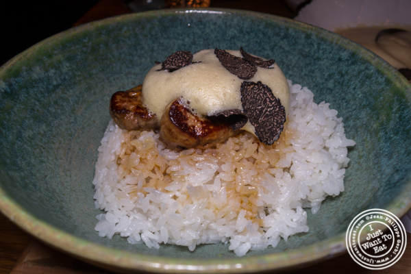 Foie gras and egg sabayon overrice at Mifune in NYC, NY