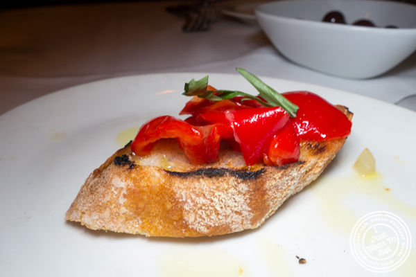 Red peppers bruschetta at Esca in Hell's Kitchen
