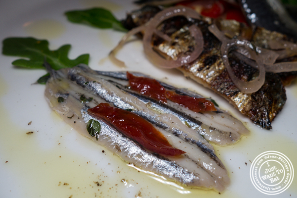House marinated fresh anchovies at Esca in Hell's Kitchen