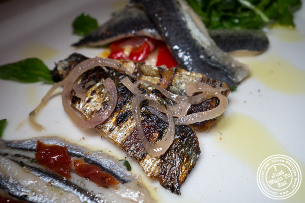 Grilled sardines at Esca in Hell's Kitchen