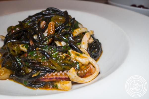 Spaghetti neri at Esca in Hell's Kitchen