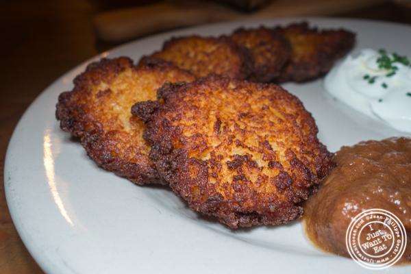 Pan fried potato pancakes at Pilsener Haus & Biergarten in Hoboken, NJ