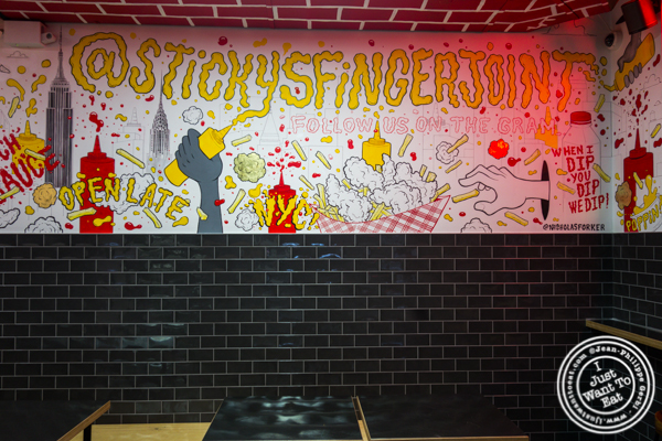 Dining room at Sticky's Finger Joint in Times Square