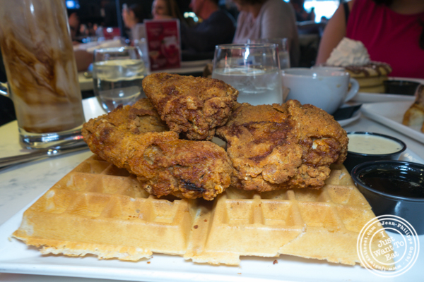 Fried chicken and waffles at Sugar Factory in the Meat Packing District