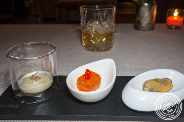 Non-vegetarian canapés at L'Appart in NYC, NY