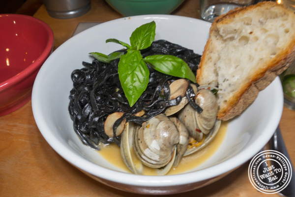 Squid ink fettuccine alle vongole at Aunt Jake's Wine Bar and Pasta Lab