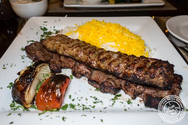 Sultani kebab at Ravagh Persian Grill in NYC, NY