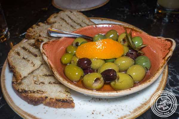 Braised olives at Valerie in NYC. NY