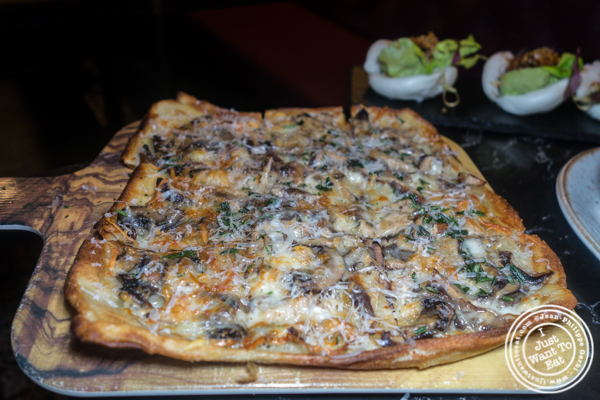 Truffled portobello flatbread at Valerie in NYC. NY