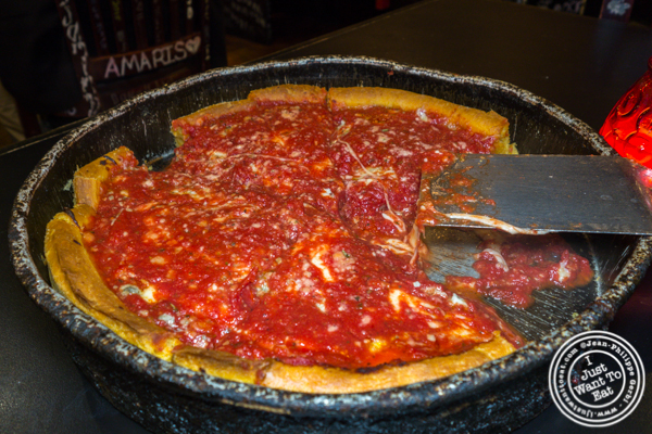Deep dish pizza at Gino's East in Chicago, Il