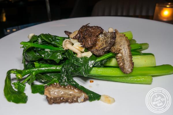 Broccoli and morels at DaDong in NYC, NY