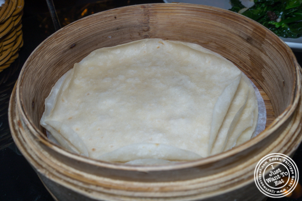 Thin crepe for Peking duck at DaDong in NYC, NY