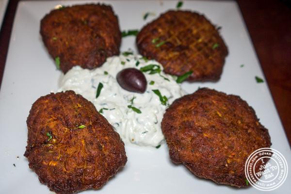 Kolokithokeftedes at Dafni Greek Taverna in NYC, NY
