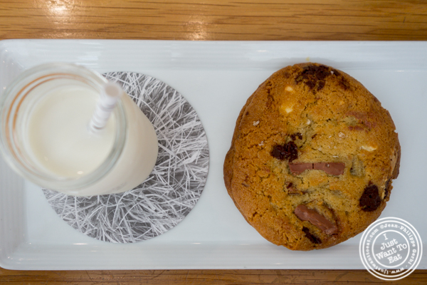 Cookie and milk at Untitled in NYC, NY