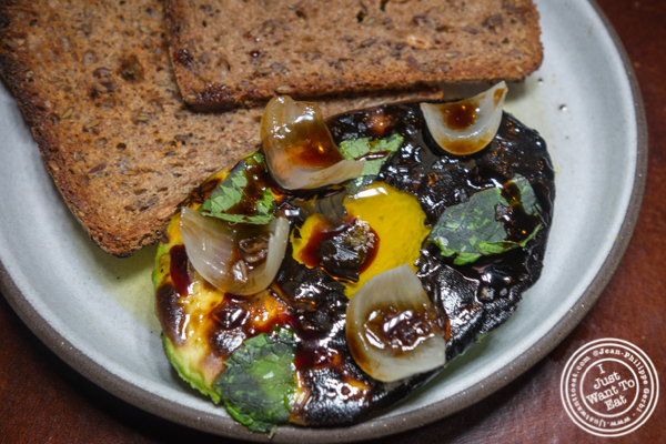 Charcoal grilled avocado at Legacy Records in Hudson Yards