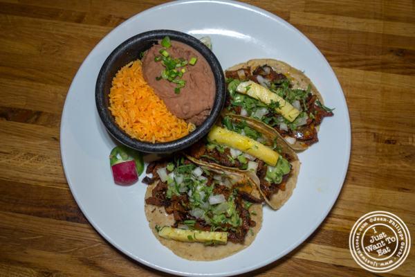 Al pastor tacos at Habanero Blues in NYC, NY