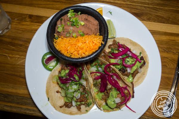 Short rib tacos at Habanero Blues in NYC, NY