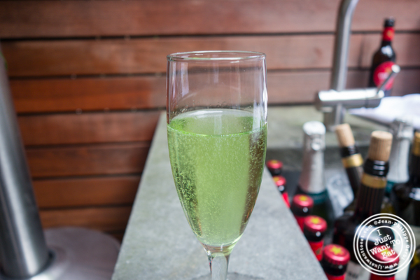 Green apple cotton candy cava cocktail