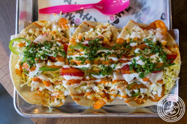 Buffalo shrimp tacos at Shaka Bowl in Hoboken, NJ