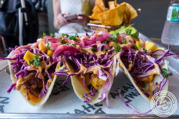 Lava rock tacos at Shaka Bowl in Hoboken, NJ