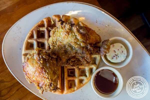 Kerala fried chicken with coconut waffle at Soul Curry in Hoboken, NJ