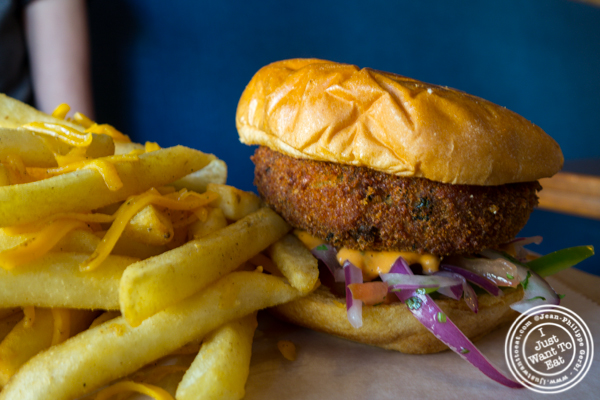 Veggie burger at Soul Curry in Hoboken, NJ
