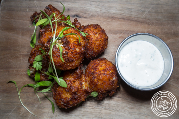 Cauliflower and feta fritters at The Rag Trader in NYC, NY