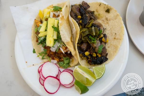 Al pastor and hongos tacos at Pico Taco