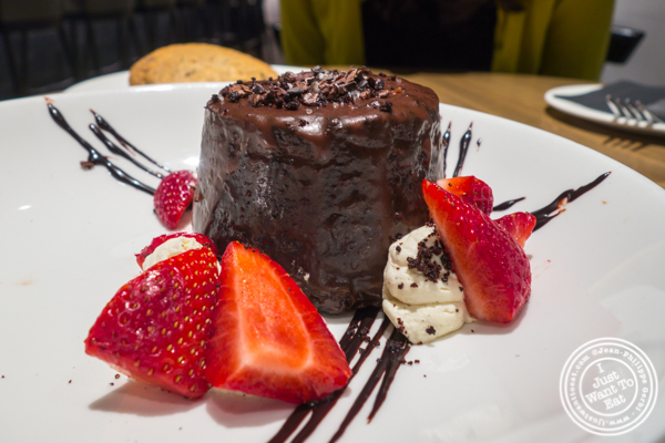 Frosted chocolate cake at Belcampo in Hudson Yards