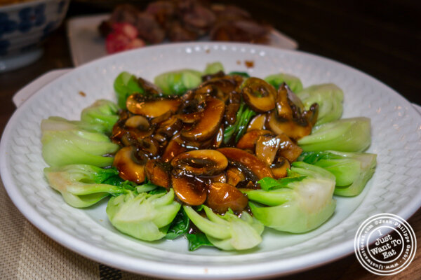 Vegetable with black mushrooms at Alley 41 in Flushing, Queens