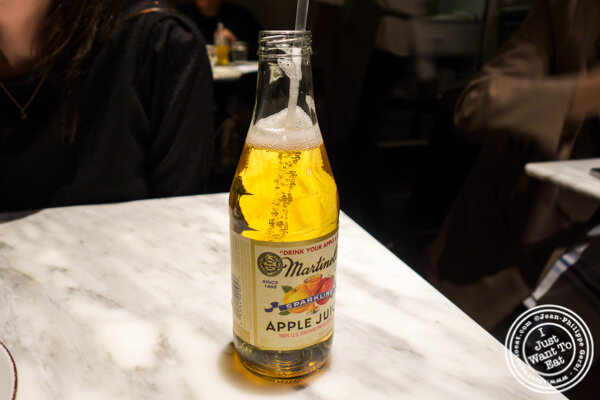 Sparkling apple juice at Hao Noodles in Chelsea