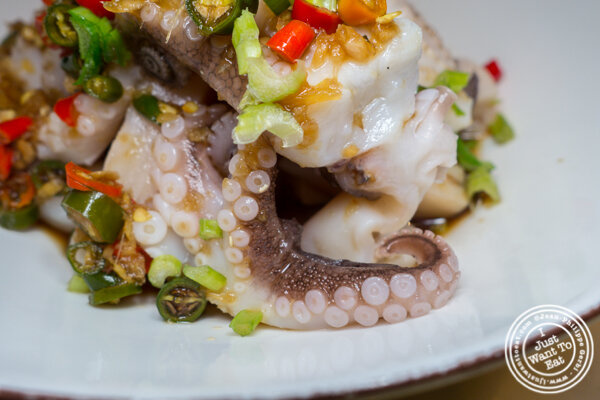 Boiled octopus in chili and sour sauce at Hao Noodles in Chelsea