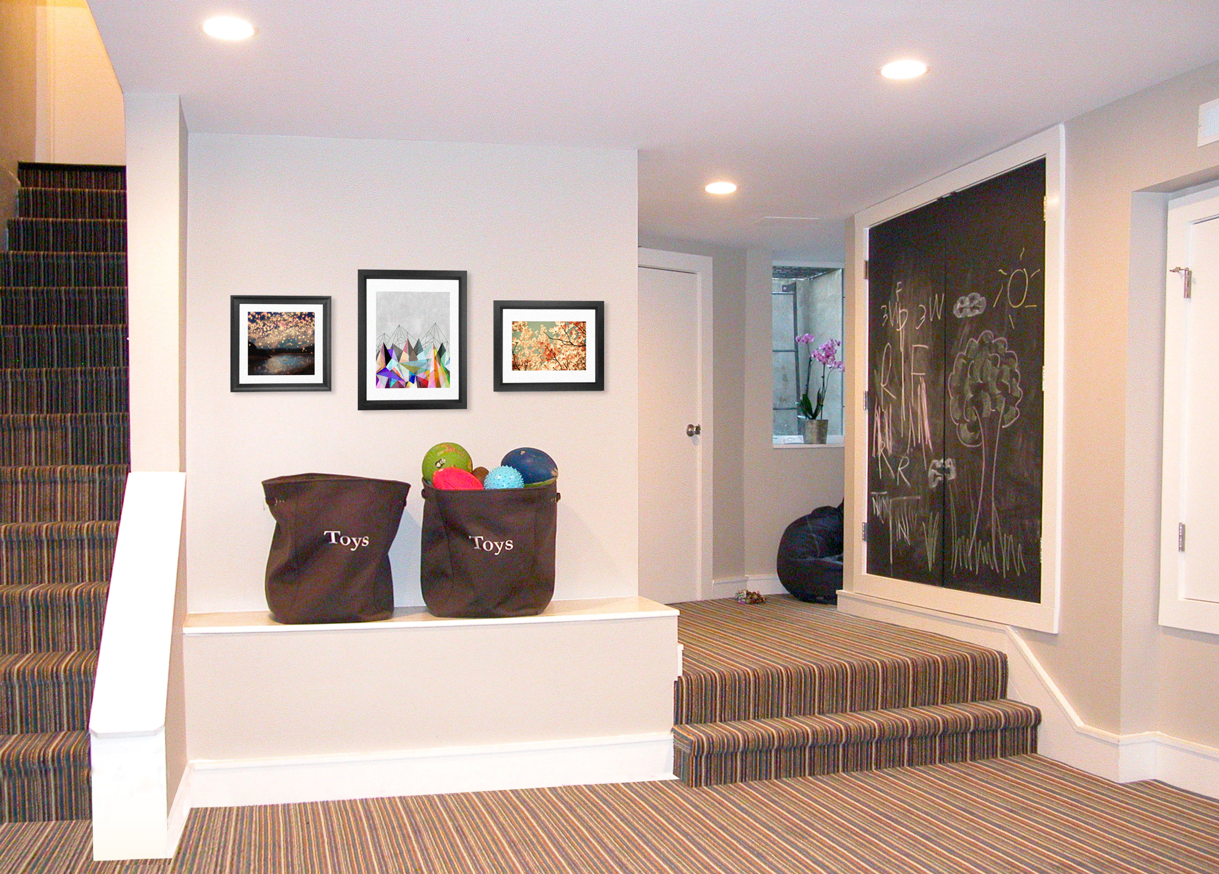 There is some serious headroom in this basement playroom.