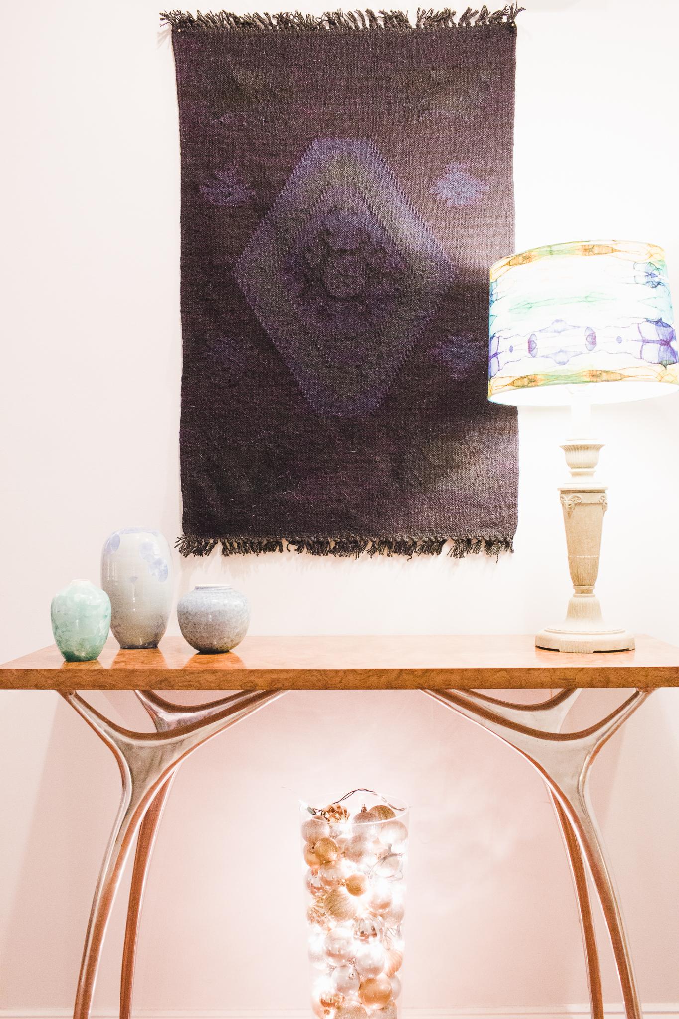 Entryway console table decor; Sid Oakley vases