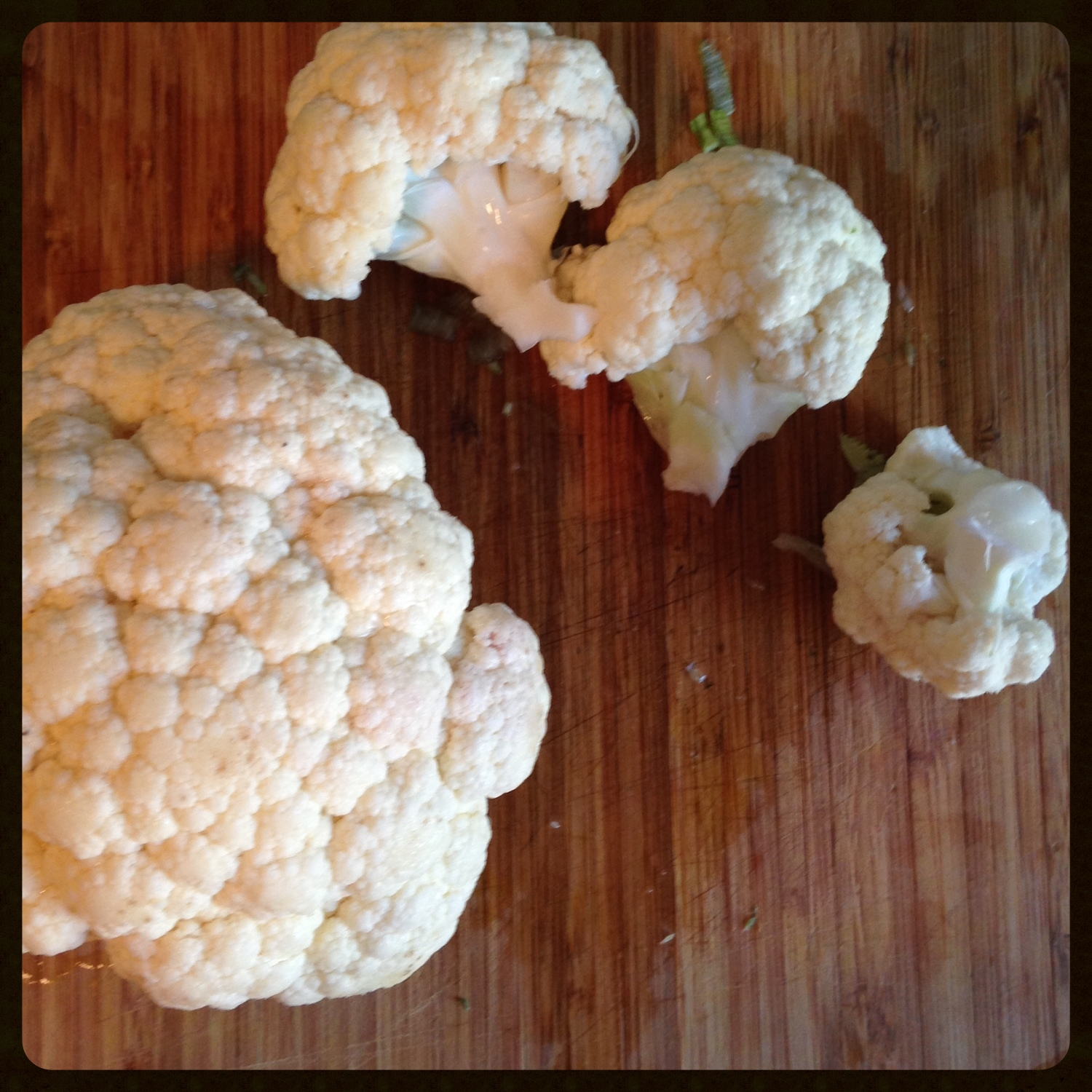 Separate the cauliflower into florets