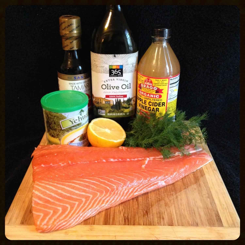 Tahini-Lemon Salmon with Dill, ingredients