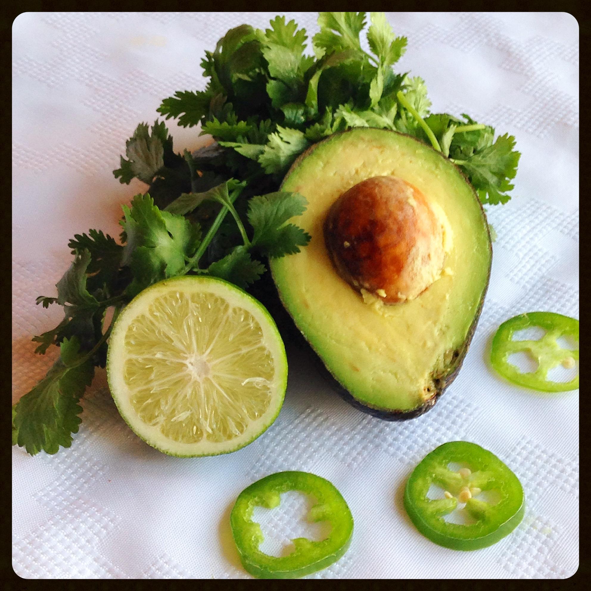 Avocado, lime and cilantro