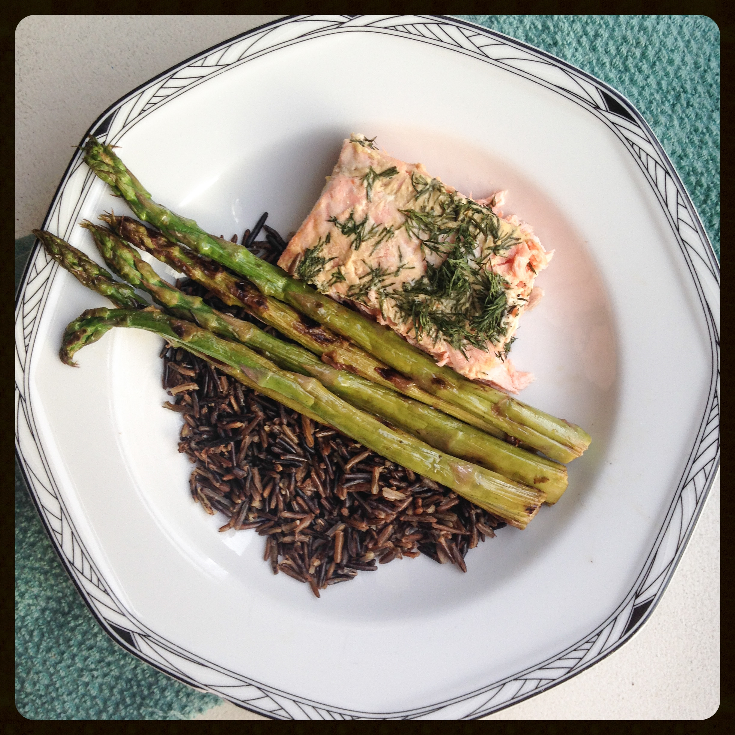 Served my Dijon-Dill salmon with wild rice and grilled asparagus, it was the perfect dinner combo!