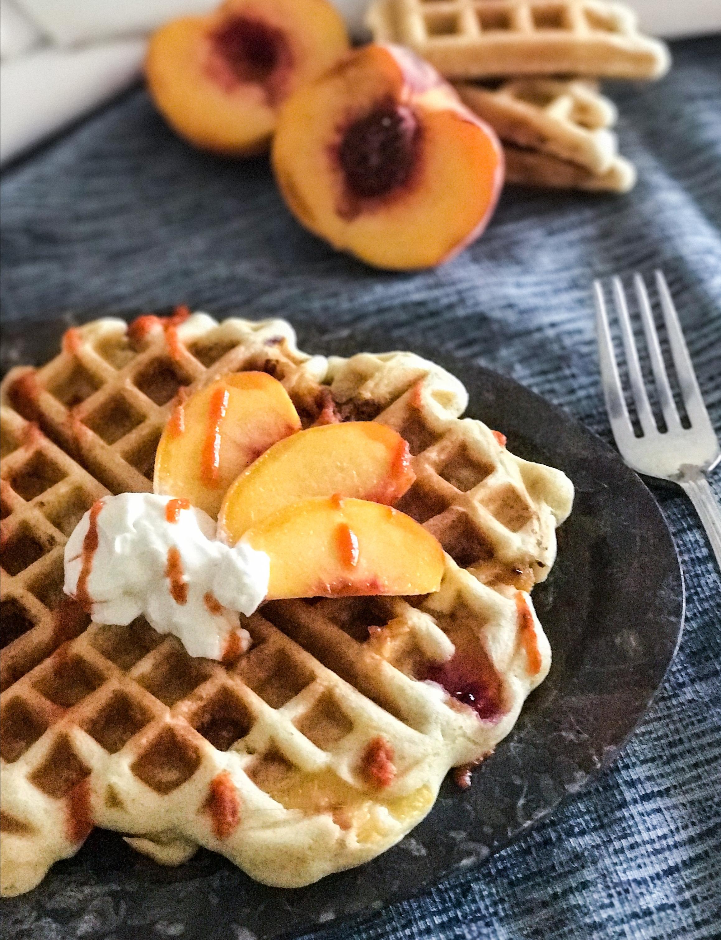 Savory Peach Waffles