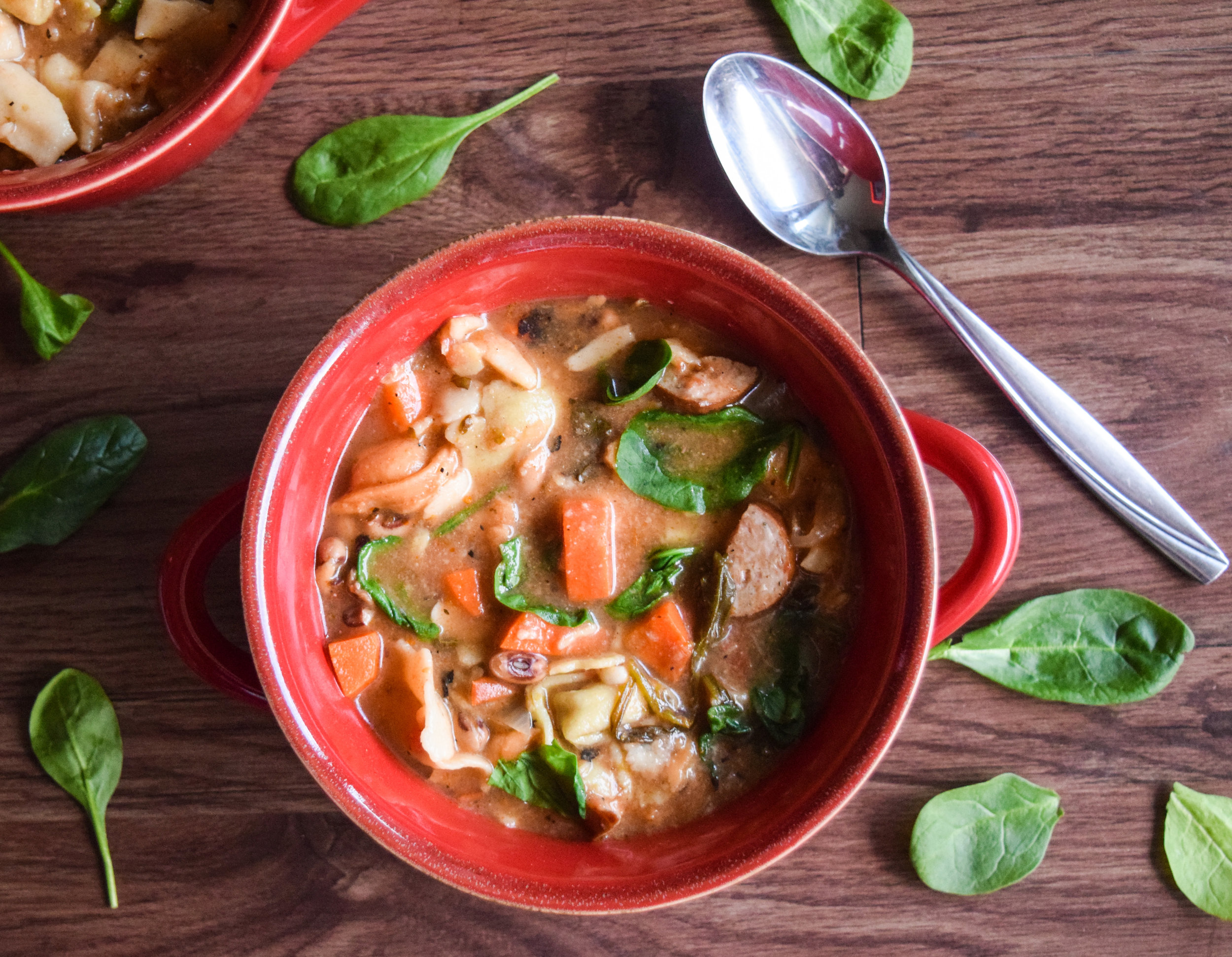 Tortellini Soup with Chicken Sausage + Veggies