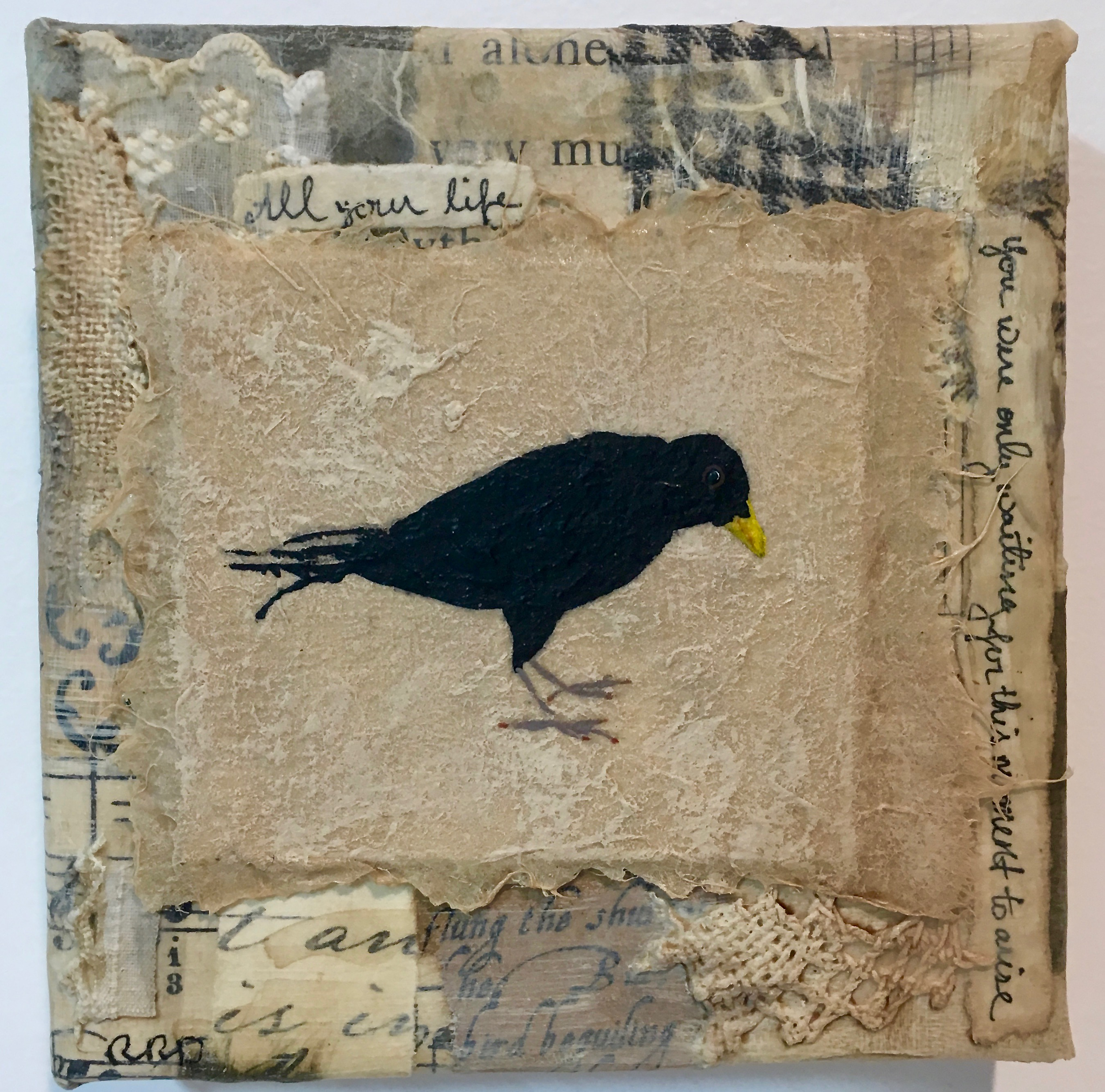 Blackbird Singing 2 , mixed media collage with acrylic painting