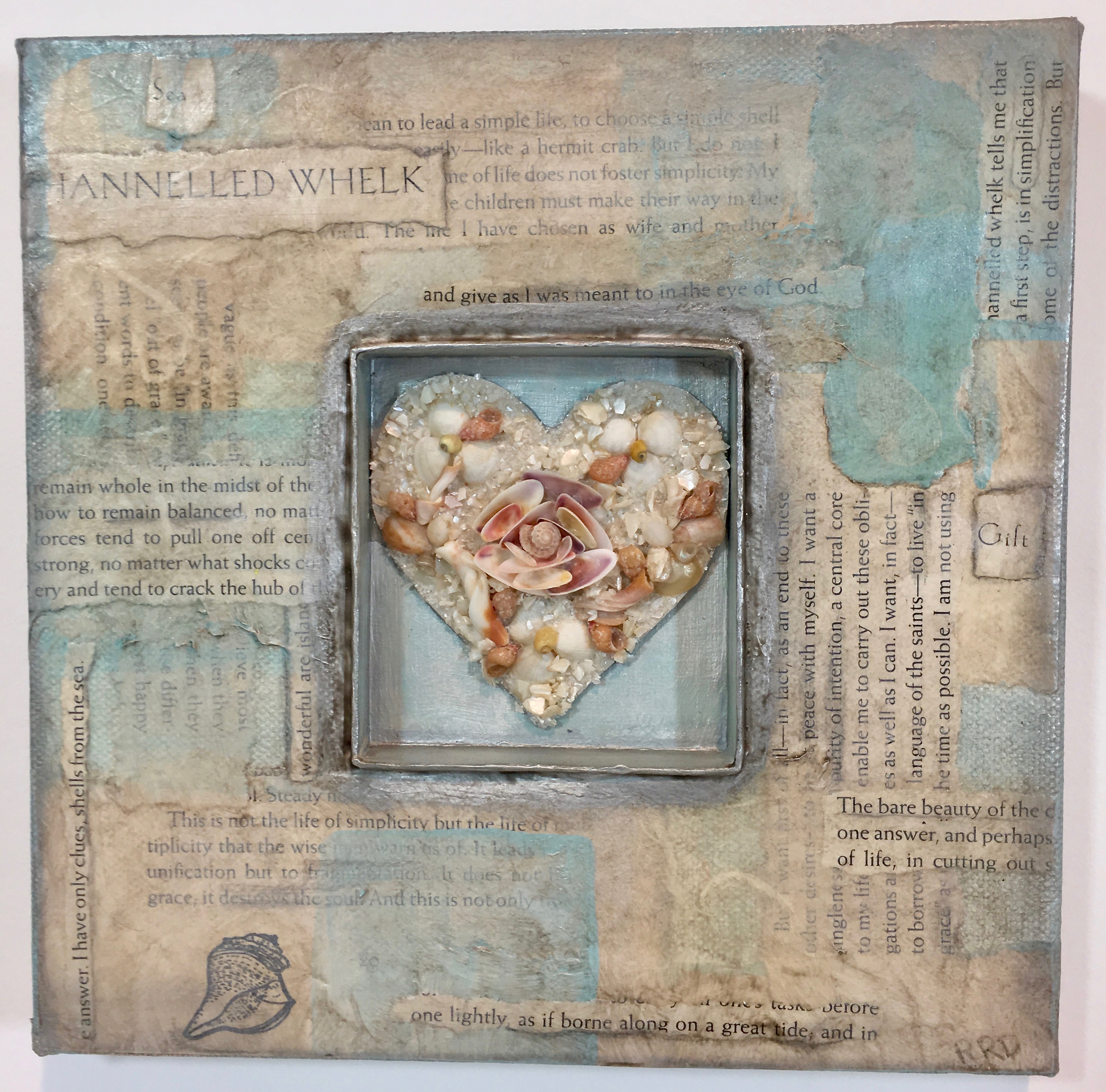 Sailor's Valentine , mixed media collage with shell assemblage